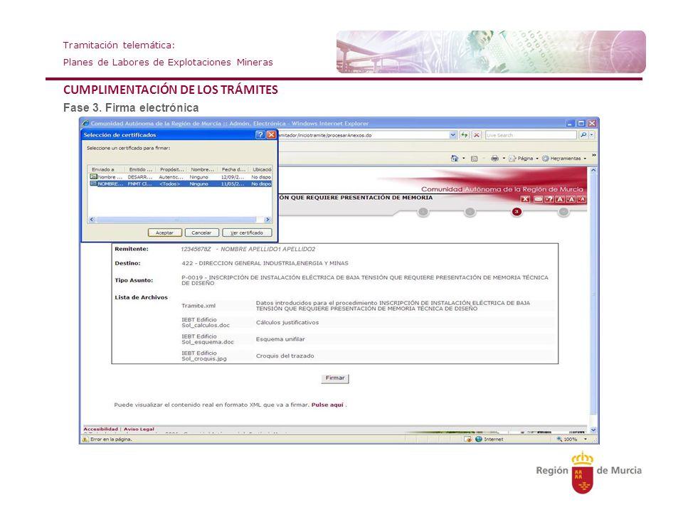 Tramitación telemática: Planes de Labores de Explotaciones Mineras CUMPLIMENTACIÓN DE LOS TRÁMITES Fase 3. Firma electrónica