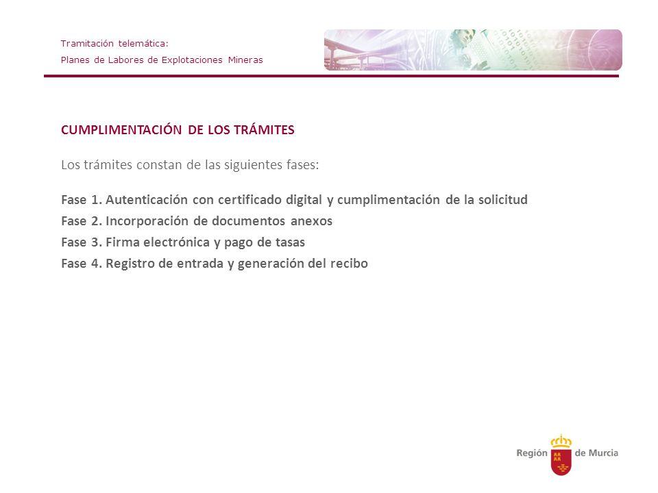 Tramitación telemática: Planes de Labores de Explotaciones Mineras CUMPLIMENTACIÓN DE LOS TRÁMITES Los trámites constan de las siguientes fases: Fase