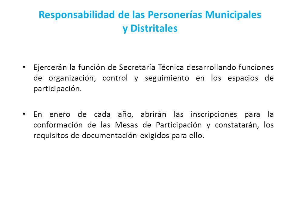 Responsabilidad de las Personerías Municipales y Distritales Ejercerán la función de Secretaría Técnica desarrollando funciones de organización, contr
