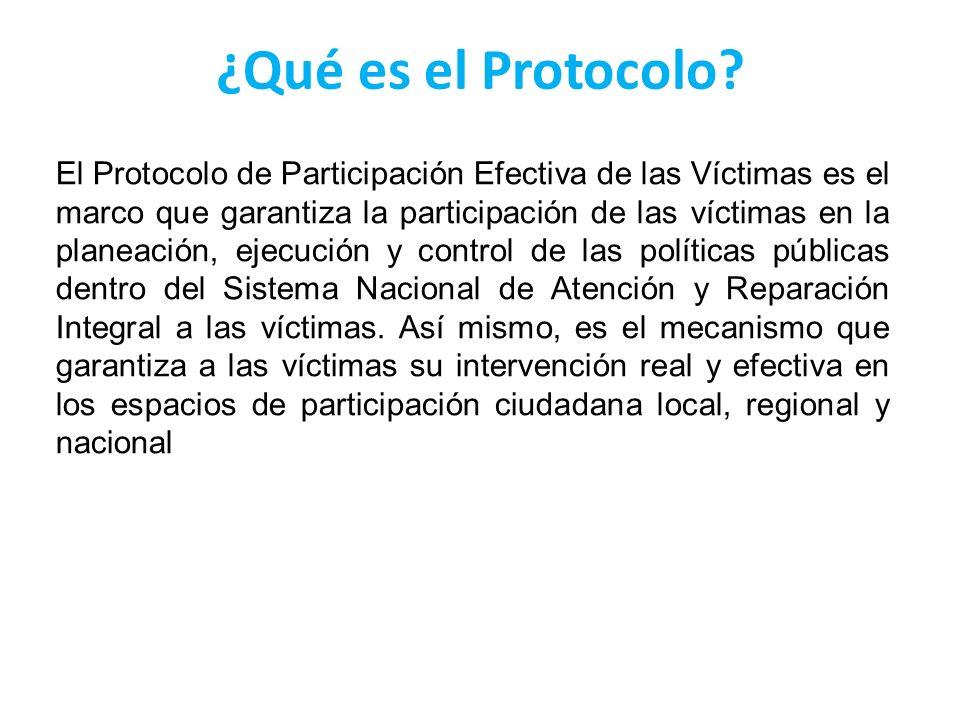 ¿Qué es el Protocolo? El Protocolo de Participación Efectiva de las Víctimas es el marco que garantiza la participación de las víctimas en la planeaci