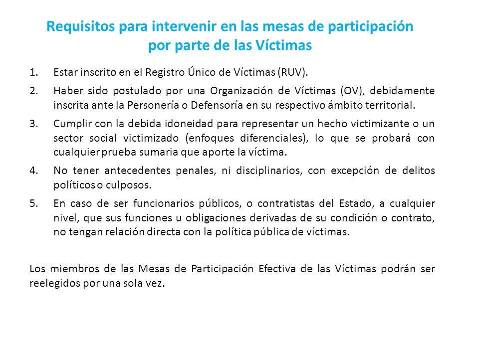 1.Estar inscrito en el Registro Único de Víctimas (RUV). 2.Haber sido postulado por una Organización de Víctimas (OV), debidamente inscrita ante la Pe