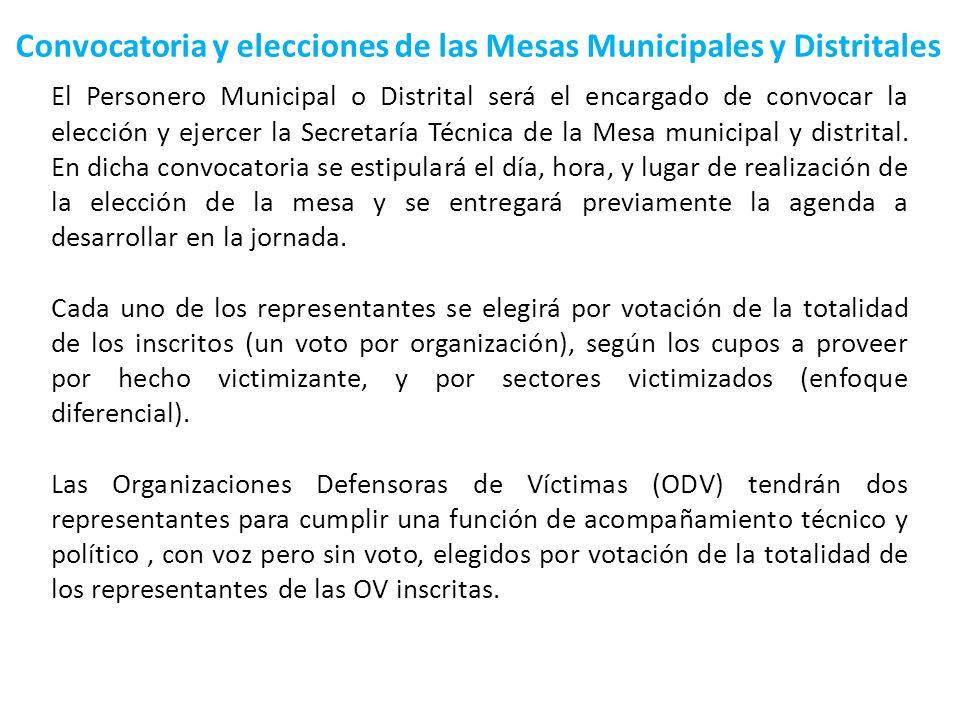 Convocatoria y elecciones de las Mesas Municipales y Distritales El Personero Municipal o Distrital será el encargado de convocar la elección y ejerce