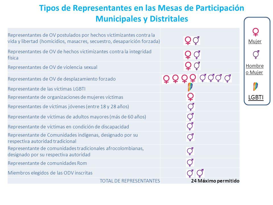Tipos de Representantes en las Mesas de Participación Municipales y Distritales Representantes de OV postulados por hechos victimizantes contra la vid