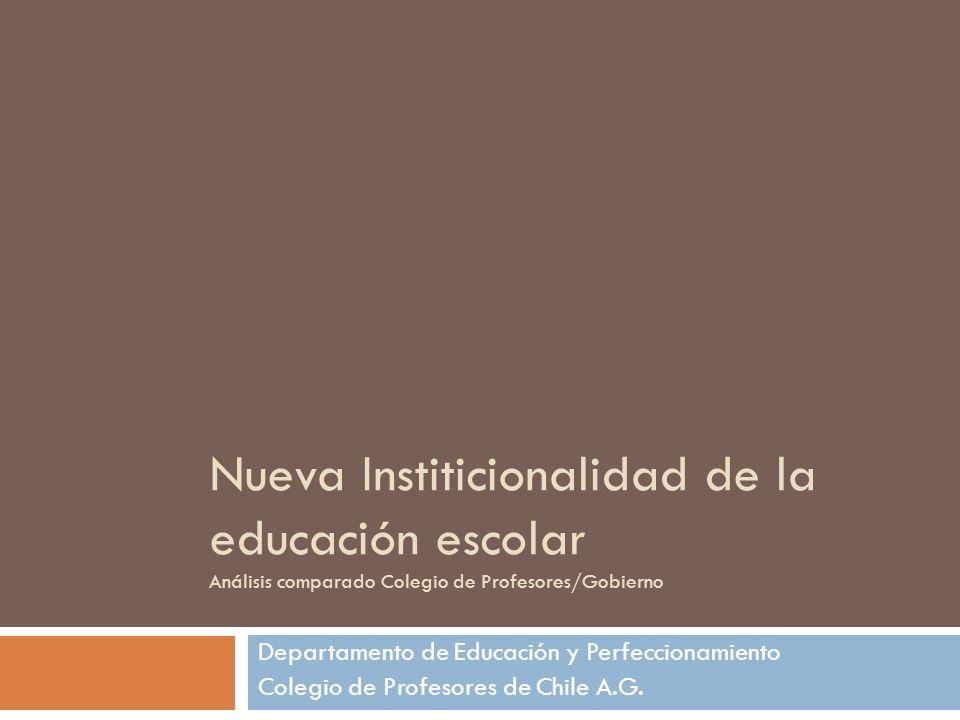 Nueva Institicionalidad de la educación escolar Análisis comparado Colegio de Profesores/Gobierno Departamento de Educación y Perfeccionamiento Colegi