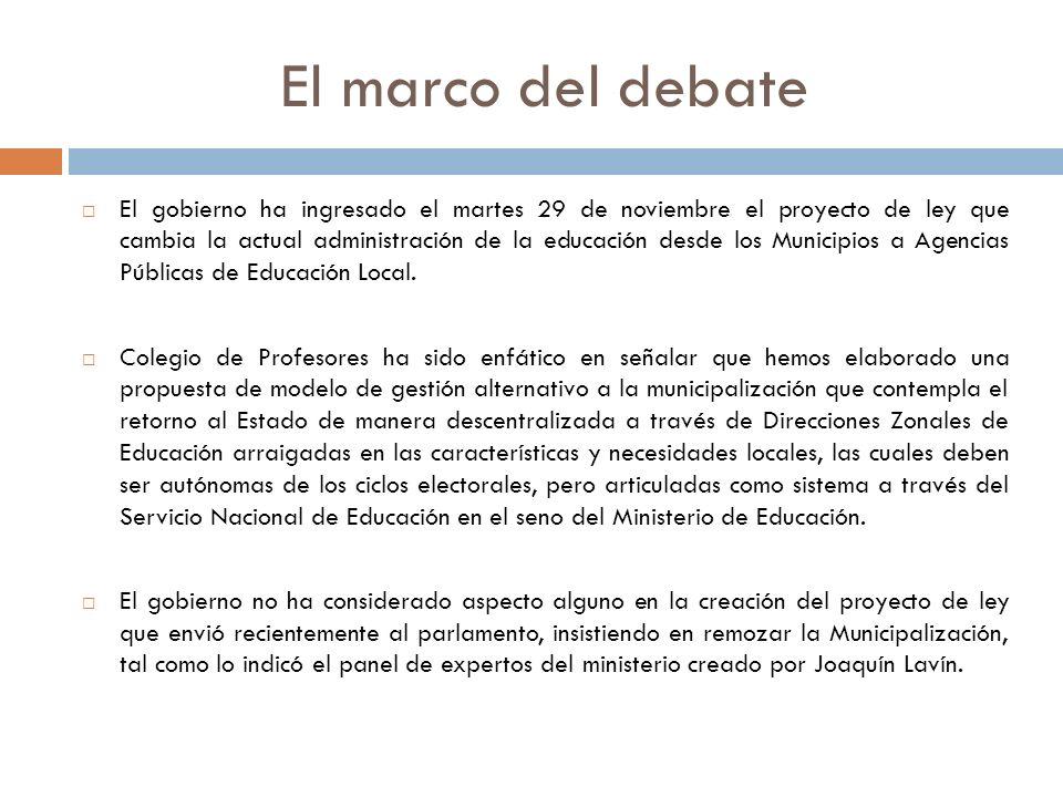 El marco del debate El gobierno ha ingresado el martes 29 de noviembre el proyecto de ley que cambia la actual administración de la educación desde lo