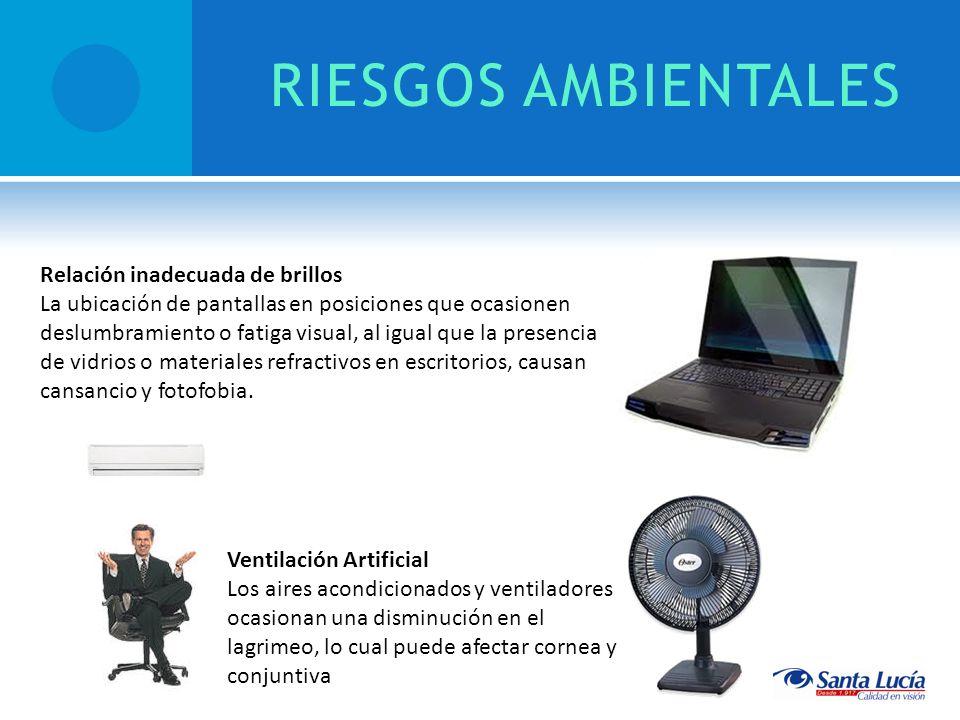 RIESGOS AMBIENTALES Ventilación Artificial Los aires acondicionados y ventiladores ocasionan una disminución en el lagrimeo, lo cual puede afectar cor