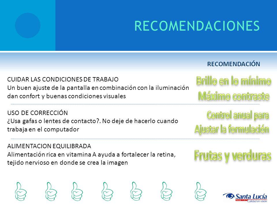 RECOMENDACIONES CUIDAR LAS CONDICIONES DE TRABAJO Un buen ajuste de la pantalla en combinación con la iluminación dan confort y buenas condiciones vis