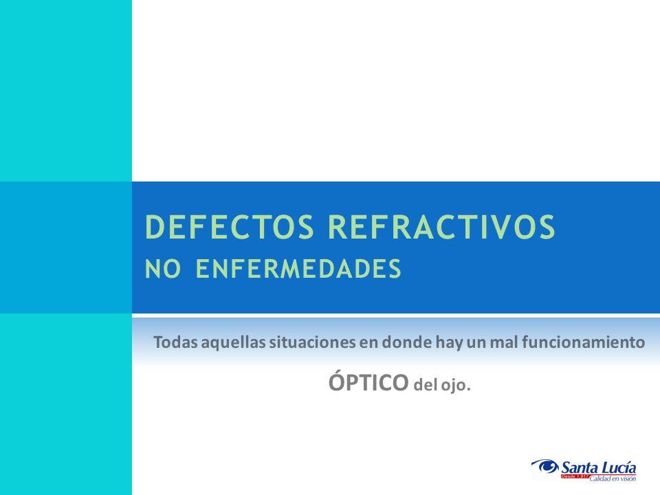 DEFECTOS REFRACTIVOS NO ENFERMEDADES Todas aquellas situaciones en donde hay un mal funcionamiento ÓPTICO del ojo.