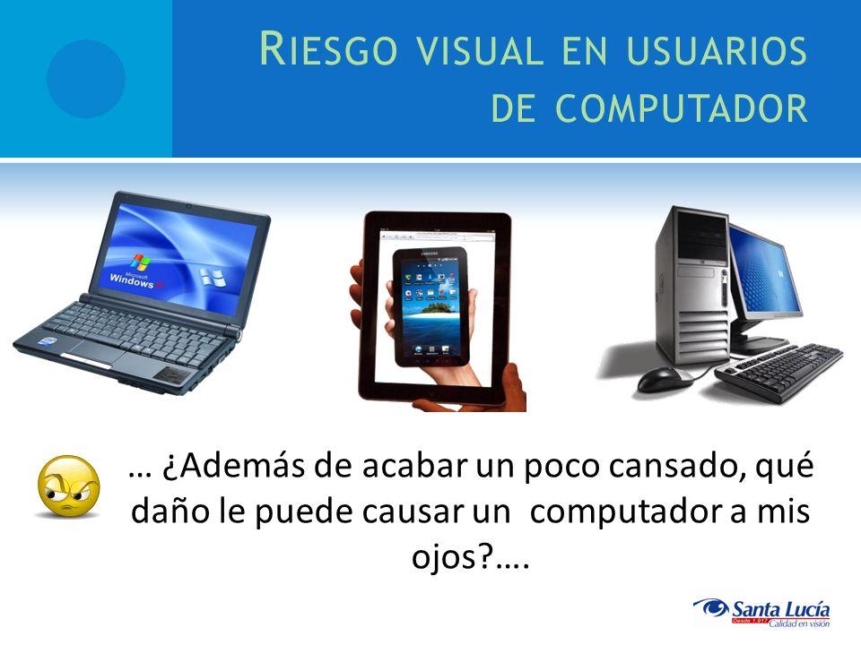 R IESGO VISUAL EN USUARIOS DE COMPUTADOR … ¿Además de acabar un poco cansado, qué daño le puede causar un computador a mis ojos?….