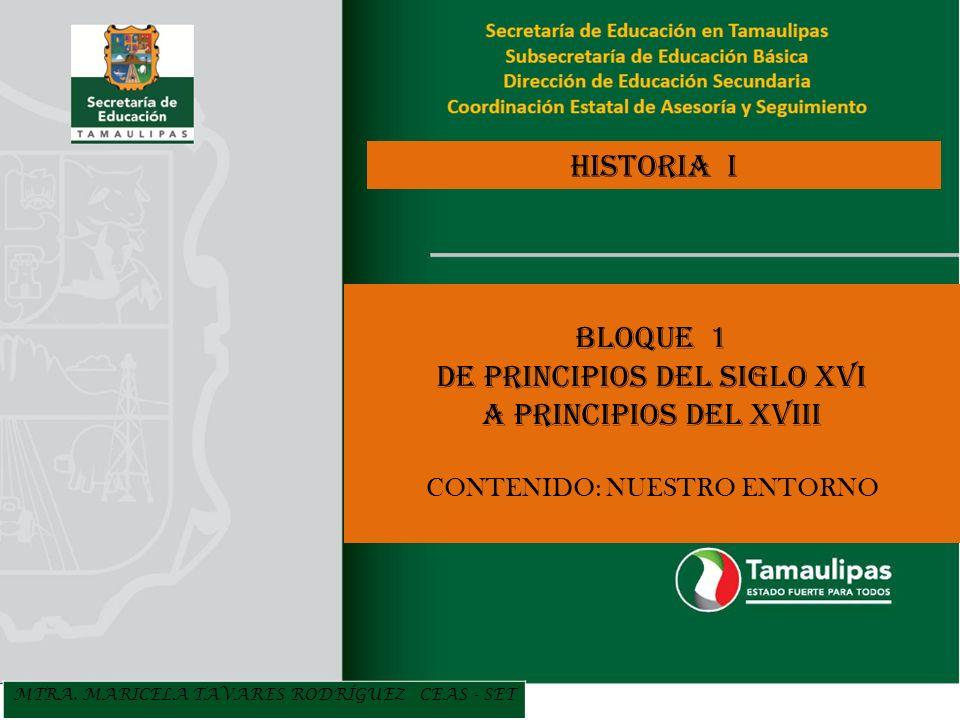 MTRA. MARICELA TAVARES RODRÍGUEZ CEAS - SET HISTORIA I BLOQUE 1 DE PRINCIPIOS DEL SIGLO XVI A PRINCIPIOS DEL XVIII CONTENIDO: NUESTRO ENTORNO
