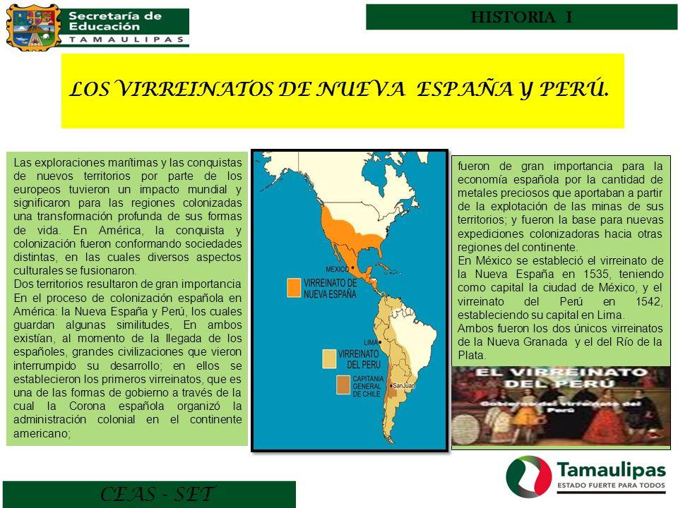 CEAS - SET HISTORIA I LOS VIRREINATOS DE NUEVA ESPAÑA Y PERÚ. Las exploraciones marítimas y las conquistas de nuevos territorios por parte de los euro