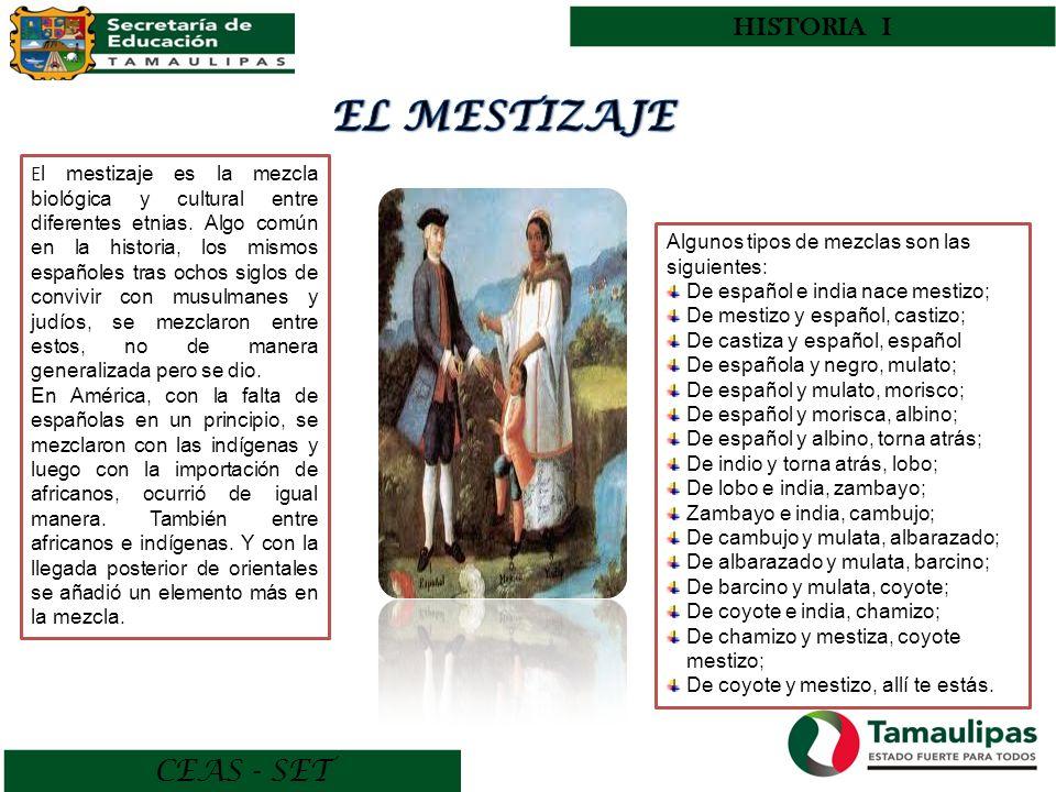 CEAS - SET HISTORIA I E l mestizaje es la mezcla biológica y cultural entre diferentes etnias. Algo común en la historia, los mismos españoles tras oc
