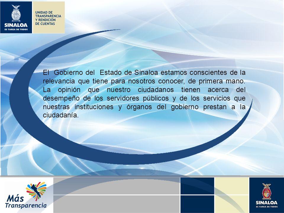 El Gobierno del Estado de Sinaloa estamos conscientes de la relevancia que tiene para nosotros conocer, de primera mano. La opinión que nuestro ciudad