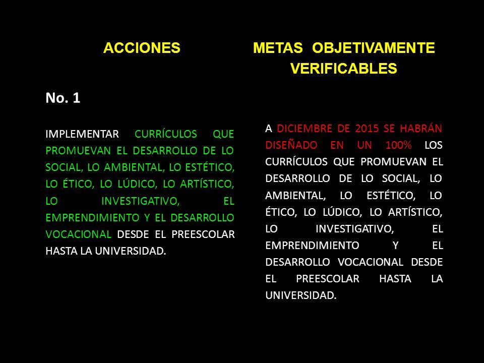 ACCIONESMETAS OBJETIVAMENTE VERIFICABLES No.