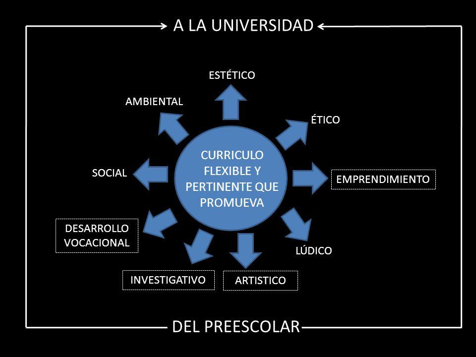 CURRICULO FLEXIBLE Y PERTINENTE QUE PROMUEVA AMBIENTAL SOCIAL DESARROLLO VOCACIONAL INVESTIGATIVO ARTISTICO LÚDICO EMPRENDIMIENTO ÉTICO ESTÉTICO A LA UNIVERSIDAD DEL PREESCOLAR