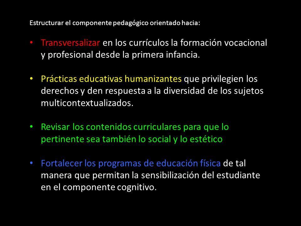 Estructurar el componente pedagógico orientado hacia: Transversalizar en los currículos la formación vocacional y profesional desde la primera infancia.