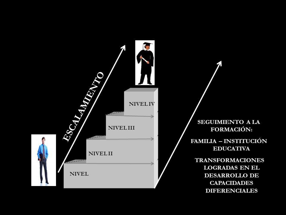 NIVEL NIVEL II NIVEL III NIVEL IV ESCALAMIENTO SEGUIMIENTO A LA FORMACIÓN: FAMILIA – INSTITUCIÓN EDUCATIVA TRANSFORMACIONES LOGRADAS EN EL DESARROLLO DE CAPACIDADES DIFERENCIALES