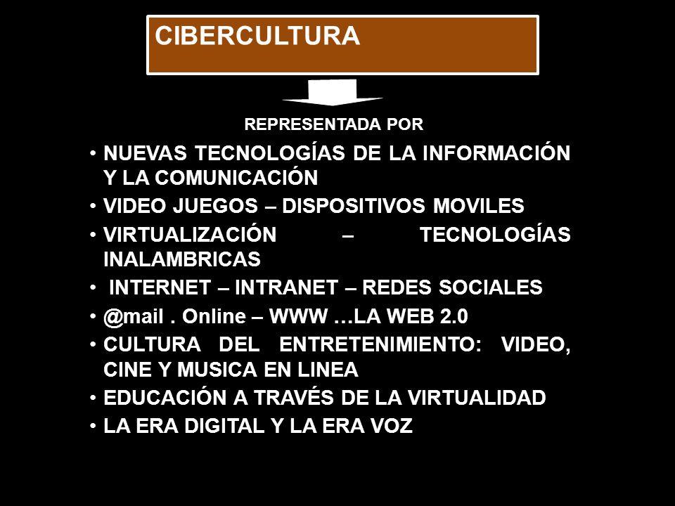 CIBERCULTURA NUEVAS TECNOLOGÍAS DE LA INFORMACIÓN Y LA COMUNICACIÓN VIDEO JUEGOS – DISPOSITIVOS MOVILES VIRTUALIZACIÓN – TECNOLOGÍAS INALAMBRICAS INTERNET – INTRANET – REDES SOCIALES @mail.