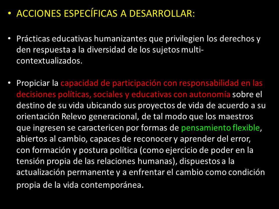 ACCIONES ESPECÍFICAS A DESARROLLAR: Prácticas educativas humanizantes que privilegien los derechos y den respuesta a la diversidad de los sujetos multi- contextualizados.