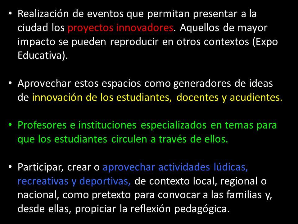 Realización de eventos que permitan presentar a la ciudad los proyectos innovadores.