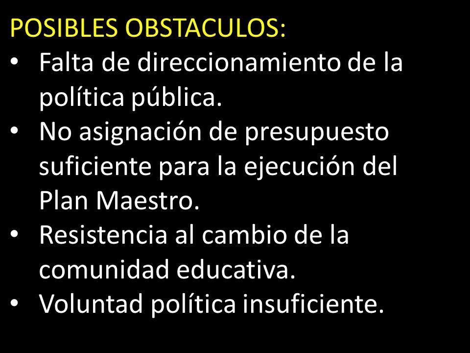 POSIBLES OBSTACULOS: Falta de direccionamiento de la política pública.