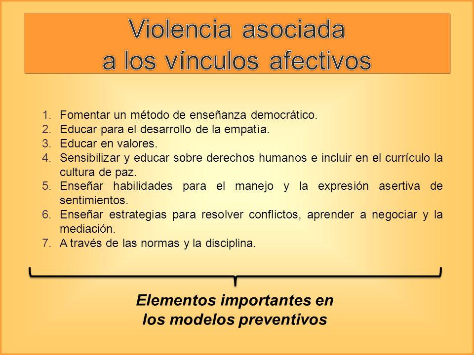 Elementos importantes en los modelos preventivos 1.Fomentar un método de enseñanza democrático. 2.Educar para el desarrollo de la empatía. 3.Educar en