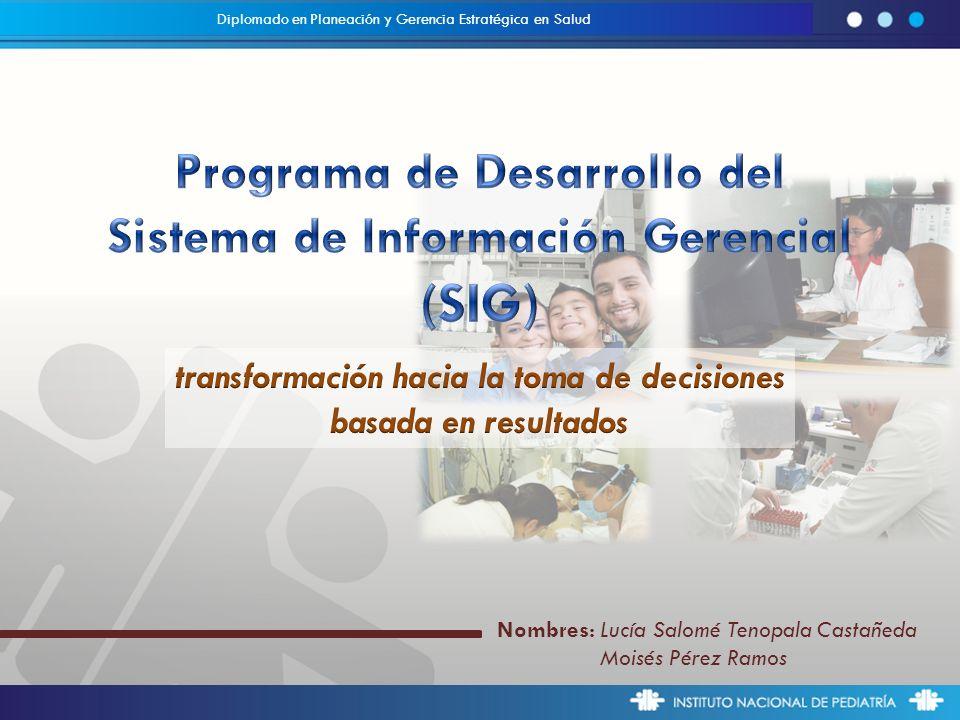 Nombres: Lucía Salomé Tenopala Castañeda Moisés Pérez Ramos Diplomado en Planeación y Gerencia Estratégica en Salud