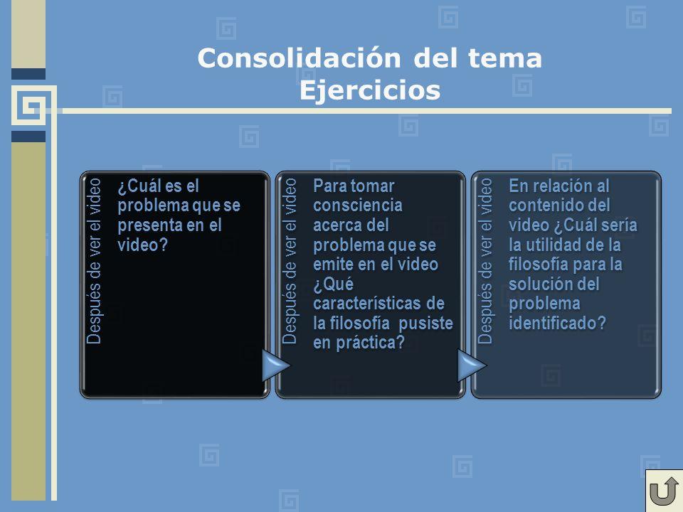 Consolidación del tema Ejercicios Después de ver el video ¿Cuál es el problema que se presenta en el video.