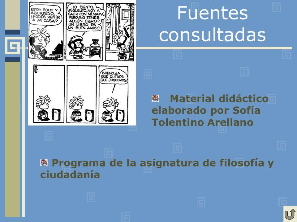 Fuentes consultadas Material didáctico elaborado por Sofía Tolentino Arellano Programa de la asignatura de filosofía y ciudadanía