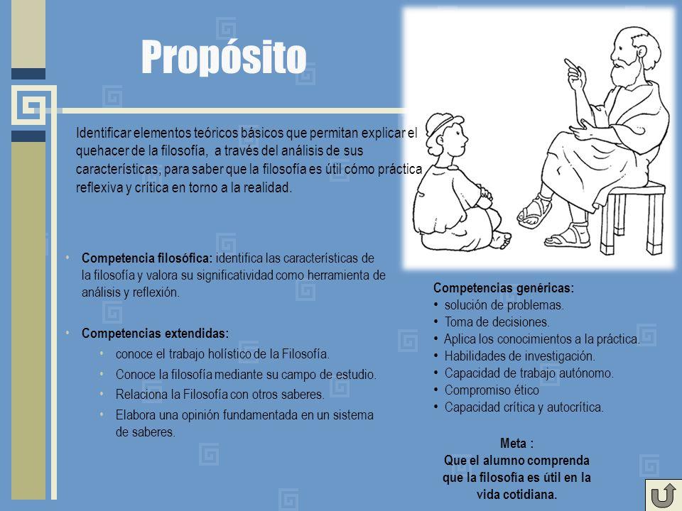 Propósito Competencia filosófica: identifica las características de la filosofía y valora su significatividad como herramienta de análisis y reflexión.