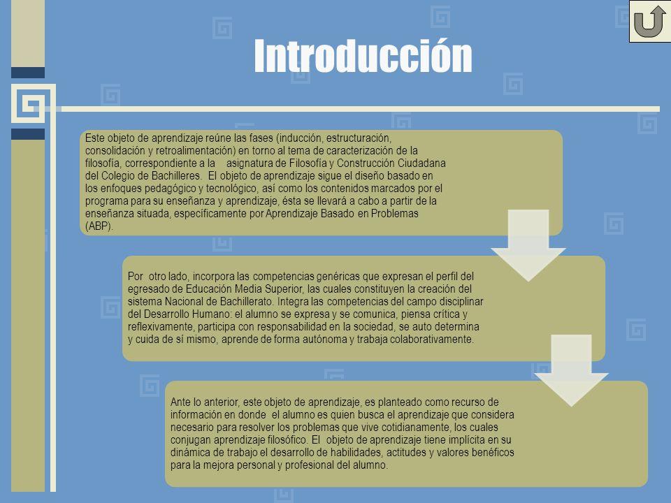 Introducción Este objeto de aprendizaje reúne las fases (inducción, estructuración, consolidación y retroalimentación) en torno al tema de caracterización de la filosofía, correspondiente a la asignatura de Filosofía y Construcción Ciudadana del Colegio de Bachilleres.