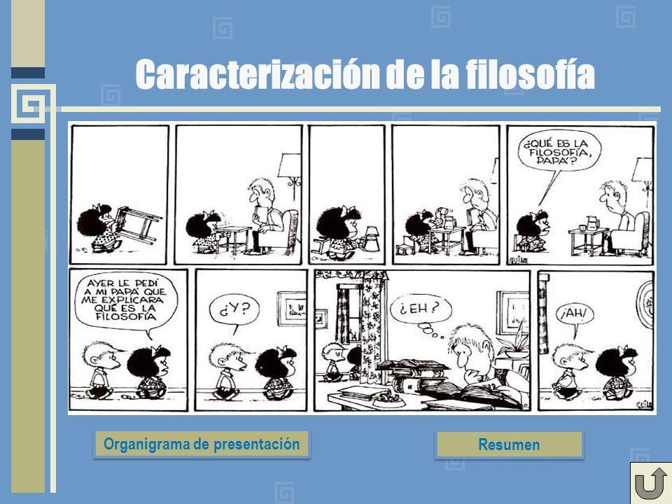 Caracterización de la filosofía Organigrama de presentación Resumen