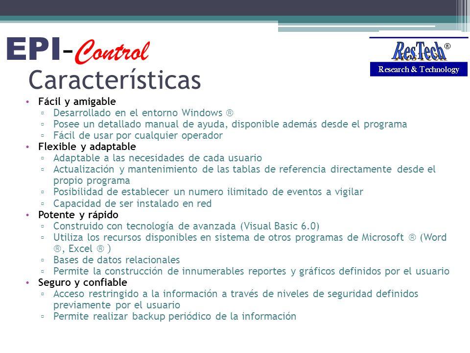 Características Fácil y amigable Desarrollado en el entorno Windows Posee un detallado manual de ayuda, disponible además desde el programa Fácil de u