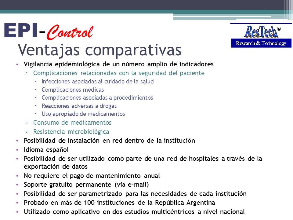Ventajas comparativas Vigilancia epidemiológica de un número amplio de indicadores Complicaciones relacionadas con la seguridad del paciente Infeccion