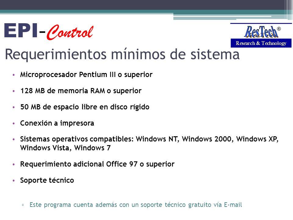 Requerimientos mínimos de sistema Microprocesador Pentium III o superior 128 MB de memoria RAM o superior 50 MB de espacio libre en disco rígido Conex