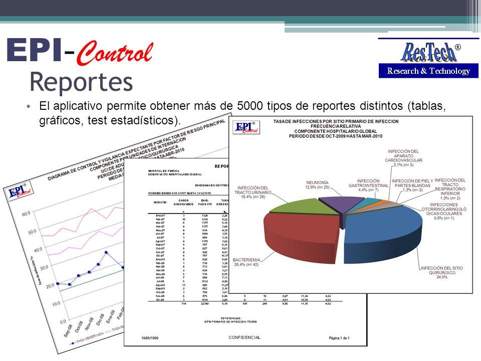 Reportes El aplicativo permite obtener más de 5000 tipos de reportes distintos (tablas, gráficos, test estadísticos). EPI - Control