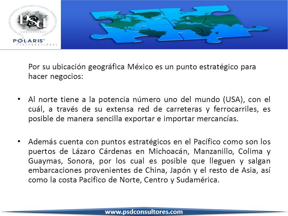 Por su ubicación geográfica México es un punto estratégico para hacer negocios: Al norte tiene a la potencia número uno del mundo (USA), con el cuál,