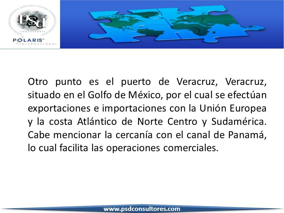 Otro punto es el puerto de Veracruz, Veracruz, situado en el Golfo de México, por el cual se efectúan exportaciones e importaciones con la Unión Europ