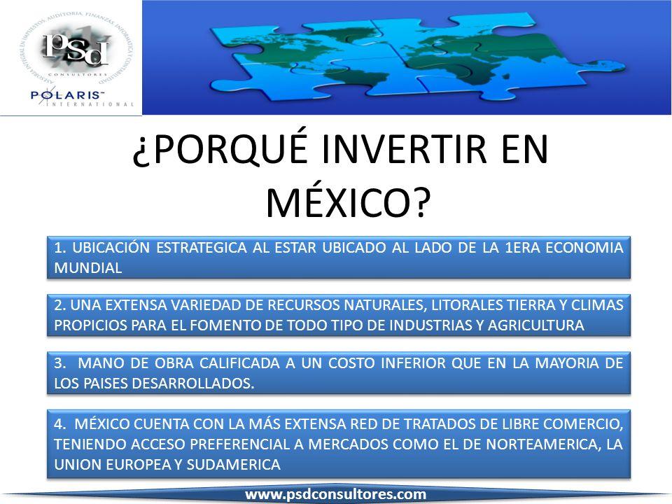 ¿PORQUÉ INVERTIR EN MÉXICO? 1. UBICACIÓN ESTRATEGICA AL ESTAR UBICADO AL LADO DE LA 1ERA ECONOMIA MUNDIAL 1. UBICACIÓN ESTRATEGICA AL ESTAR UBICADO AL
