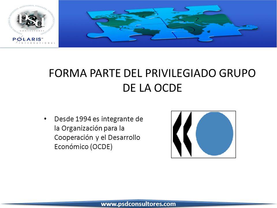FORMA PARTE DEL PRIVILEGIADO GRUPO DE LA OCDE Desde 1994 es integrante de la Organización para la Cooperación y el Desarrollo Económico (OCDE) www.psd