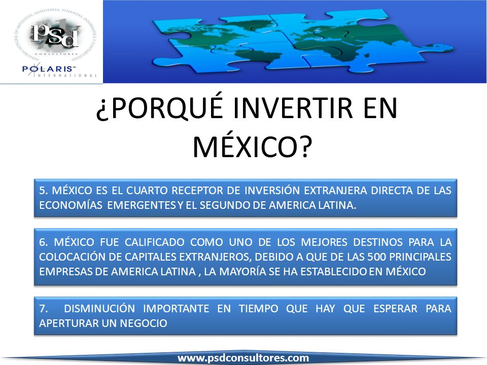 ¿PORQUÉ INVERTIR EN MÉXICO? 5. MÉXICO ES EL CUARTO RECEPTOR DE INVERSIÓN EXTRANJERA DIRECTA DE LAS ECONOMÍAS EMERGENTES Y EL SEGUNDO DE AMERICA LATINA