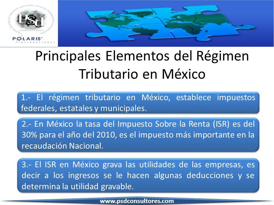 Principales Elementos del Régimen Tributario en México 1.- El régimen tributario en México, establece impuestos federales, estatales y municipales. 1.
