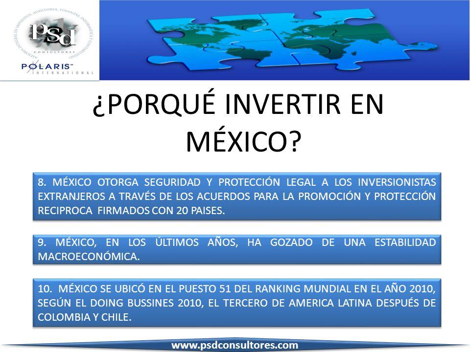 ¿PORQUÉ INVERTIR EN MÉXICO? 8. MÉXICO OTORGA SEGURIDAD Y PROTECCIÓN LEGAL A LOS INVERSIONISTAS EXTRANJEROS A TRAVÉS DE LOS ACUERDOS PARA LA PROMOCIÓN