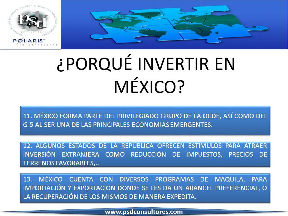 ¿PORQUÉ INVERTIR EN MÉXICO? 11. MÉXICO FORMA PARTE DEL PRIVILEGIADO GRUPO DE LA OCDE, ASÍ COMO DEL G-5 AL SER UNA DE LAS PRINCIPALES ECONOMIAS EMERGEN