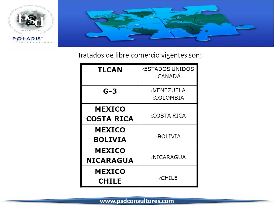 TLCUEM UNIÓN EUROPEA MEXICO ISRAEL AELC NORUEGA ISLANDIA SUIZA LIECHTENSTEIN TRIANGULO DEL NORTE EL SALVADOR GUATEMALA HONDURAS MEXICO URUGUAY MEXICO JAPÓN Tratados de libre comercio vigentes son: www.psdconsultores.com
