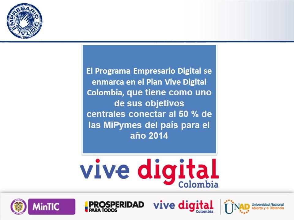 El Programa Empresario Digital se enmarca en el Plan Vive Digital Colombia, que tiene como uno de sus objetivos centrales conectar al 50 % de las MiPymes del país para el año 2014