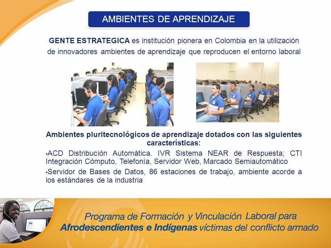 GENTE ESTRATEGICA es institución pionera en Colombia en la utilización de innovadores ambientes de aprendizaje que reproducen el entorno laboral Ambie