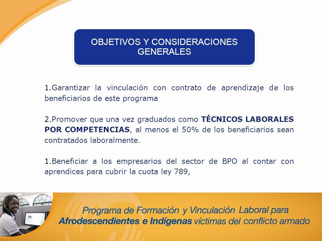 1.Garantizar la vinculación con contrato de aprendizaje de los beneficiarios de este programa 2.Promover que una vez graduados como TÉCNICOS LABORALES