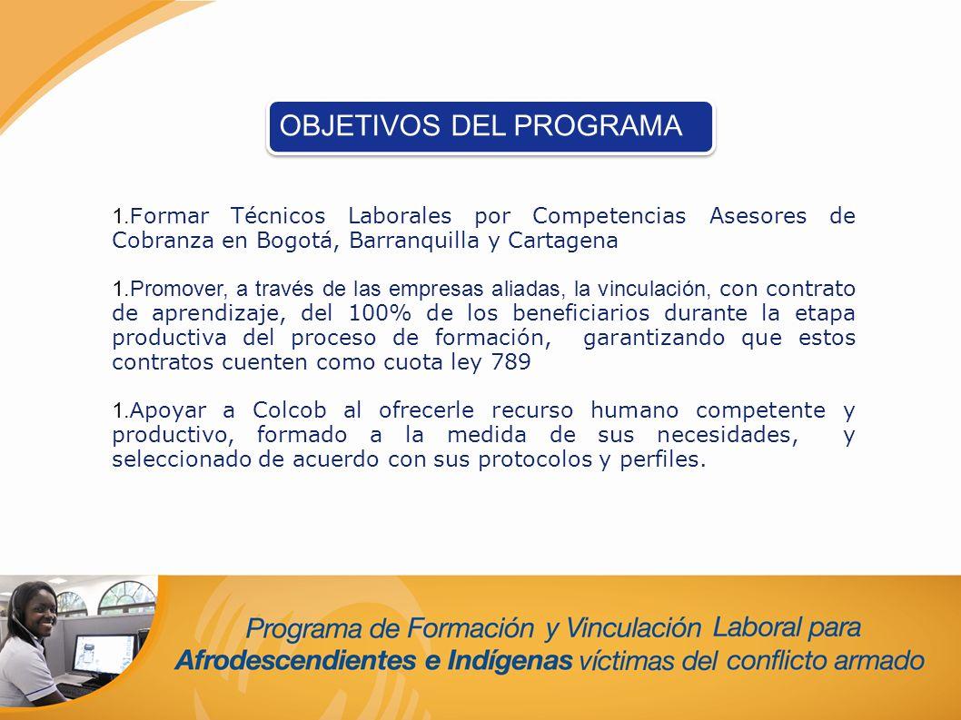 1.F ormar Técnicos Laborales por Competencias Asesores de Cobranza en Bogotá, Barranquilla y Cartagena 1.Promover, a través de las empresas aliadas, l