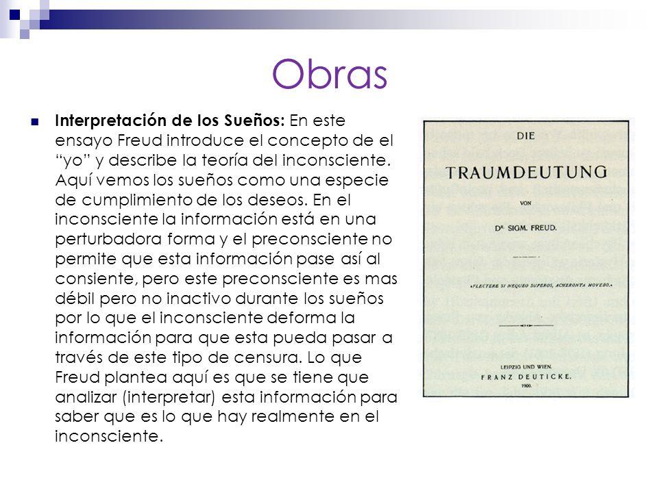 Obras Interpretación de los Sueños: En este ensayo Freud introduce el concepto de el yo y describe la teoría del inconsciente.